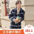 woolen coat Fashion City GXG GA126418G Wool 51.7% polyester 30.1% polyamide 18.2% Woolen cloth Winter 2018 have more cash than can be accounted for standard Other leisure youth tailored collar Single breasted tide lattice 180/XL 175/L 170/M 165/S 185/XXL 190/XXXL Blue background and blue grid