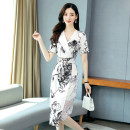 Dress Summer 2020 White and black flowers M L XL XXL Mid length dress singleton  Short sleeve commute V-neck middle-waisted Decor Socket Irregular skirt routine Others 30-34 years old Aylie Korean version printing A75139 More than 95% other polyester fiber Polyester 100%