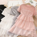 Dress Gray, white, pink, black female Shell element 90cm,100cm,110cm,120cm,130cm,140cm Other 100% summer fresh Short sleeve other other Cake skirt qz5662 Class B 2, 3, 4, 5, 6, 7, 8, 9, 10, 11, 12, 13, 14 years old