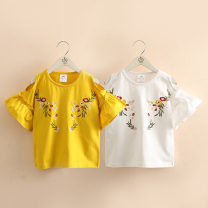 T-shirt Yellow, white Shell element 150cm,140cm,130cm,120cm,110cm,100cm female summer Short sleeve Crew neck lady No model nothing other other Other 100% txa356 Class B 14, 13, 12, 11, 10, 9, 8, 7, 6, 5, 4, 3, 2 years old