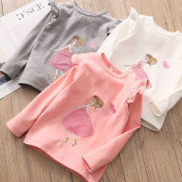 T-shirt Gray, white, pink, navy Shell family 90cm,100cm,110cm,120cm,130cm,140cm female Long sleeves Crew neck Korean version No model nothing other other tx-3927 Class B 2, 3, 4, 5, 6, 7, 8, 9, 10, 11, 12, 13, 14 years old