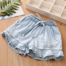 trousers Shell element female 100cm,110cm,120cm,130cm,140cm,150cm Denim blue summer shorts Korean version No model Jeans Leather belt middle-waisted other Don't open the crotch Other 100% kzc327 Class B 14, 13, 12, 11, 10, 9, 8, 7, 6, 5, 4, 3, 2 years old