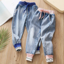 trousers Shell element female 100cm,110cm,120cm,130cm,140cm,150cm Blue, pink spring and autumn trousers Jeans Leather belt Other 100% Class B 2, 3, 4, 5, 6, 7, 8, 9, 10, 11, 12, 13, 14 years old