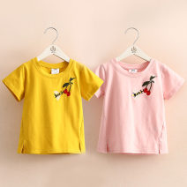 T-shirt White, yellow, pink Shell element 90cm,100cm,110cm,120cm,130cm,140cm female summer Short sleeve Crew neck leisure time No model nothing other other Class B 2, 3, 4, 5, 6, 7, 8, 9, 10, 11, 12, 13, 14 years old
