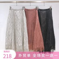 skirt Autumn 2020 S, M Black, pink, ivory longuette Versatile High waist A-line skirt Solid color Type A 25-29 years old Z224 51% (inclusive) - 70% (inclusive) Lace Meiai apricot polyester fiber Lace