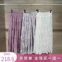 skirt Summer 2021 One size fits all, foreign trade orders White, mixed, pink Mid length dress Versatile High waist Cake skirt Hand painted Type A 25-29 years old Z259 30% and below other Meiai apricot nylon printing