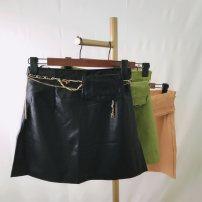 skirt Spring 2021 S,M,L,XL Black, gouache green, Hami melon color Short skirt Versatile A-line skirt Solid color 25-29 years old 51% (inclusive) - 70% (inclusive) Viscose