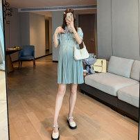 Dress Miss Leila green M,L,XL,XXL Korean version Short sleeve Medium length summer Crew neck stripe 407-6312