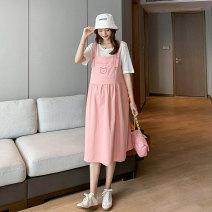 suit Miss Leila White + pink, white + blue, white + rice, white + black Average size Korean version Short sleeve + skirt summer routine Solid color 414-6348