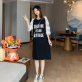 Dress Miss Leila black Average size Korean version Short sleeve Medium length summer Crew neck Solid color 414-6350