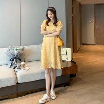 Dress Miss Leila Ginger, white, green M,L,XL Korean version Short sleeve Medium length summer Crew neck Solid color 407-6309