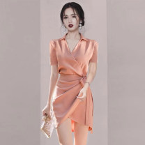 Dress Spring 2021 Pink, Burgundy, black S,M,L,XL Short skirt other Long sleeves commute V-neck High waist Solid color zipper other routine Others 25-29 years old 51% (inclusive) - 70% (inclusive) other