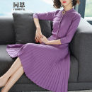 Dress Autumn of 2018 Purple black Khaki S M L XL XXL Mid length dress Two piece set Long sleeves street V-neck Elastic waist Solid color Single breasted Pleated skirt Wrap sleeves Others 30-34 years old Tongen Pleated pockets with Beaded nails T16CL16081213XS-1 30% and below other nylon