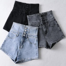 Jeans Summer 2021 Gray, black, blue S,M,L,XL shorts High waist Wide legged trousers routine 18-24 years old Multi pocket, badge, metal decoration, zipper, button, wash, paste cloth, pattern, make old, other Cotton elastic denim Dark color Other / other 71% (inclusive) - 80% (inclusive)