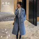 woolen coat Winter 2020 S M L XL XXL Light blue white red white polyester 95% and above Medium length Long sleeves commute double-breasted tailored collar Solid color Self cultivation Korean version 977RX Caidaifei 25-29 years old Polyester 100%