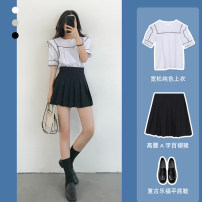 Fashion suit Summer 2020 XS S M L XL XXL one size fits all Black pleated skirt (single piece) 1 s038 white (single piece) s038 white + BLACK PLEATED SKIRT (one set) pre-sale delivery within 15 days [this option does not shoot] 18-25 years old Oh Other 100% Pure e-commerce (online only)