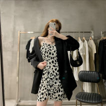 Women's large Spring 2021 Dress, coat Large, 3XL, 4XL, large Other oversize styles Two piece set commute easy moderate Cardigan Long sleeves Leopard Print Korean version Medium length Three dimensional cutting routine W3900+L5062 Mr. Zhang 25-29 years old Medium length
