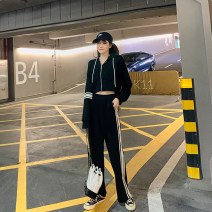 Women's large Spring 2021 black Large, 3XL, 4XL, large Other oversize styles Two piece set easy moderate Cardigan Long sleeves Solid color other routine Three dimensional cutting routine T5000 Mr. Zhang 25-29 years old trousers