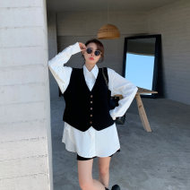Women's large Spring 2021 Shirt, vest Large, 3XL, 4XL, large Other oversize styles Two piece set commute easy moderate Cardigan Long sleeves Solid color Korean version Polo collar routine Three dimensional cutting routine W6025+S6022 Mr. Zhang 25-29 years old Button