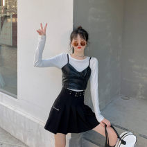 Women's large Spring 2021 Large, 3XL, 4XL, large Other oversize styles Three piece set commute Self cultivation moderate Socket Long sleeves Solid color Korean version Crew neck routine Three dimensional cutting routine Mr. Zhang 25-29 years old Short skirt