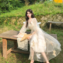 Dress Summer 2020 Apricot (cardigan + dress) S,M,L Mid length dress Two piece set elbow sleeve commute V-neck High waist Animal design Socket Big swing puff sleeve camisole 18-24 years old Type A Korean version Embroidery, gauze