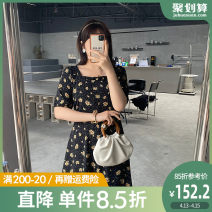 Women's large Summer 2021 L XL 2XL 3XL 4XL 5XL Dress singleton  commute Self cultivation thin Conjoined Short sleeve Broken flowers Korean version square neck polyester Three dimensional cutting puff sleeve Caidoble / caidoble · CAI 25-29 years old Bandage 96% and above Middle-skirt Polyester 100%