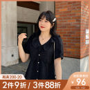 Women's large Summer 2021 L XL 2XL 3XL 4XL 5XL shirt singleton  commute Self cultivation moderate Socket Short sleeve Broken flowers Korean version routine Polyester others Three dimensional cutting puff sleeve Caidoble / caidoble · CAI 25-29 years old Button 96% and above Lotus leaf edge