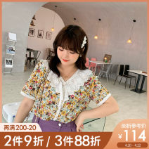Women's large Summer 2021 Yellow pre sale L XL 2XL 3XL 4XL 5XL shirt singleton  commute easy thin Socket Short sleeve Broken flowers Korean version Lotus leaf collar routine polyester Three dimensional cutting routine XA21002 Caidoble / caidoble · CAI 25-29 years old Button 96% and above