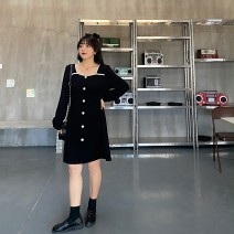 Women's large Spring 2021 Black black pre sale L XL 2XL 3XL 4XL 5XL Dress singleton  commute Self cultivation moderate Conjoined Long sleeves Solid color Korean version square neck Nylon others Three dimensional cutting routine Q3131 Caidoble / caidoble · CAI 25-29 years old Button Middle-skirt bow