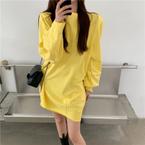 Dress Spring 2021 yellow Average size Short skirt singleton  Long sleeves commute Crew neck High waist Solid color Socket One pace skirt routine Others 18-24 years old Type H Other / other Korean version 335# 31% (inclusive) - 50% (inclusive) other other