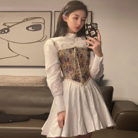 Dress Spring 2021 Vest , Shirt dress Average size Short skirt singleton  commute Half high collar Solid color other routine 18-24 years old Type A Korean version 8355# 51% (inclusive) - 70% (inclusive) other