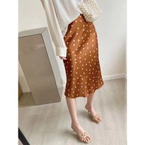 skirt Spring 2021 S,M,L Real shot in the picture Mid length dress High waist A-line skirt Dot Type A More than 95% silk
