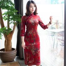 cheongsam Spring of 2019 S M L XL XXL 9104 Decor three quarter sleeve long cheongsam Retro daily R18F9104 Ruyifeng polyester fiber Polyester 97% polyurethane elastic fiber (spandex) 3% Pure e-commerce (online only)