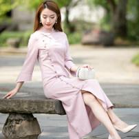 cheongsam Autumn 2020 S M L XL XXL R081 Retro Over 35 years old R18FR081 Ruyifeng polyester fiber Polyester 95% polyurethane elastic fiber (spandex) 5% Pure e-commerce (online only)