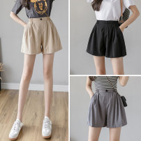 Casual pants Apricot, grey, black S,M,L,XL,2XL Summer 2021 shorts Straight pants High waist commute routine 18-24 years old L16 other Korean version pocket polyester fiber