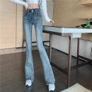 Jeans Spring 2021 wathet S,M,L trousers High waist Flared trousers routine Under 17 Cotton elastic denim light colour G 51% (inclusive) - 70% (inclusive)