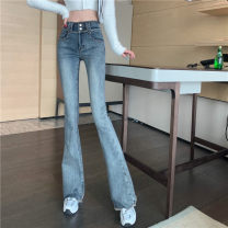 Jeans Spring 2021 wathet S,M,L trousers High waist Flared trousers routine Under 17 Cotton elastic denim light colour G 51% (inclusive) - 70% (inclusive)