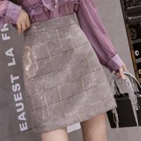 skirt Spring 2021 S,M,L,XL Gray grid, khaki grid Short skirt Versatile High waist A-line skirt lattice Type A 18-24 years old LZ43 51% (inclusive) - 70% (inclusive) other polyester fiber Sequins, zippers
