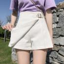 Casual pants Rose, white, black, denim blue S,M,L,XL,2XL Summer 2021 shorts Wide leg pants High waist Versatile routine 18-24 years old H
