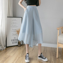 Casual pants White, purple, blue, black S,M,L,XL Summer 2021 Cropped Trousers Wide leg pants High waist commute ultrathin 18-24 years old J16 Korean version Button