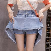 skirt Summer 2021 S,M,L,XL,2XL,3XL Light blue, dark blue Mid length dress Versatile High waist A-line skirt Solid color Type A 18-24 years old G 51% (inclusive) - 70% (inclusive) Denim cotton Pockets, rags, buttons