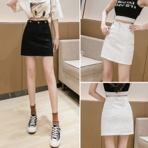 skirt Summer 2021 S,M,L,XL White, black Short skirt Versatile High waist A-line skirt Solid color Type A 18-24 years old J22 51% (inclusive) - 70% (inclusive)