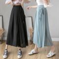 Casual pants Blue, black, pink S,M,L,XL Summer 2021 Ninth pants Wide leg pants High waist commute Thin money 18-24 years old Y Korean version bow