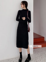 Dress Autumn of 2019 Black grey brown S M L XL 2XL Mid length dress Long sleeves commute Half high collar Elastic waist Solid color other other routine Breast wrapping 18-24 years old Type A Beautiful clothes Korean version More than 95% other cotton Cotton 97% polyurethane elastic fiber (spandex) 3%