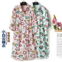 Nightdress Other / other Cat light powder, cat light green, cat bean powder, watermelon bean powder, watermelon light green Average size Simplicity Short sleeve pajamas Middle-skirt summer Geometric pattern youth Small lapel cotton One piece pure cotton