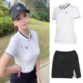 Golf apparel Model white T-shirt, model black split skirt, model black hat, model w white socks S. M, l, XL, one size fits all female golf t-shirt