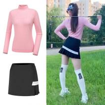 Golf apparel Pink Long Sleeve Top, white long sleeve top, black long sleeve top, white stockings, model white hat, model black skirt S. M, l, XL, XXL, one size fits all female golf Long sleeve T-shirt XLU7713