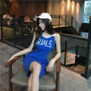 Dress Summer 2021 Blue, black Average size Miniskirt singleton  Sleeveless commute V-neck High waist other Socket A-line skirt straps 18-24 years old Korean version 51% (inclusive) - 70% (inclusive) other other
