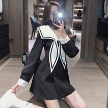 Dress Spring 2021 Black, white S,M,L,XL Short skirt singleton  Long sleeves Sweet Admiral High waist Solid color Socket A-line skirt other 18-24 years old Type A backless d1 31% (inclusive) - 50% (inclusive) college