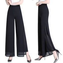Casual pants Black film, black film, red film, red film, green film, green film, blue film, blue film, white film, white film Summer of 2019 trousers Wide leg pants Natural waist original Thin money 40-49 years old 96% and above 1901# Shi Peiqi polyester fiber zipper polyester fiber